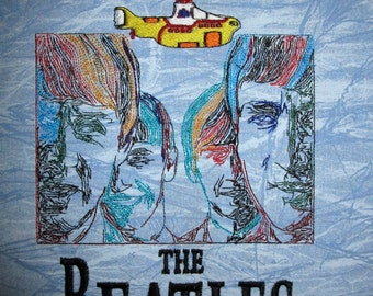 Beatles Embroidered Fabric Block Yellow Submarine
