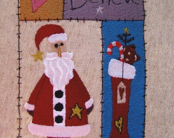 """Country Santa Embroidered Quilt Craft Block 7"""""""