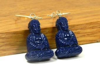 Navy Blue Meditating Buddha Earrings