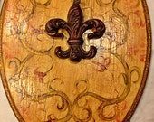 "Old World / Golden Tuscan Handpainted Floral w Fleur de Lis  / Toilet Seat w Metal hinges hardware ~ 18"" Elongated Seat / MADE to ORDER"
