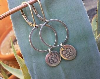 Sterling Silver Hoop Charm Earrings - Handmade