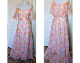 Vintage 70s Southern Belle chiffon flutter floral gown - double layered - metal zipper - small train