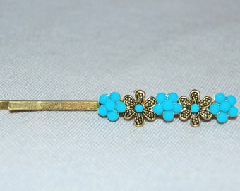 Vintage / Turquoise / Bead / Bobby Pin / Hair Clip / Flower / old / jewelry / jewellery