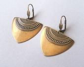 Antique Gold Art Deco Earrings, Statement Earrings, Gold Earrings, Geometric Earrings, Ethnic Earrings, Boho Earrings