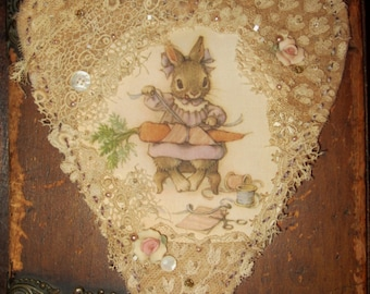 Vintage Lace Heart Collage Sweet Easter Bunny Wrapping Carrot