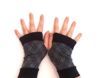 Fingerless gloves  gray with black  cuffs