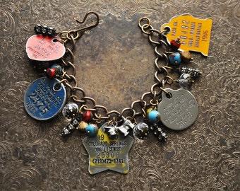 Vintage Aluminum Dog Tag Scottie Dog Charm Bracelet - Vintage Assemblage