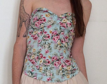 Baby Blue Floral Rose Boned Bustier Strapless Padded Stretchy