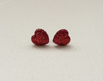 ns-CLEARANCE - Mini Sparkly Red Heart Stud Earrings