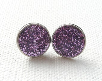 ns-Small Sparkly Purple Round Stud Earrings