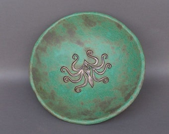 Large 3-Legged Stoneware Bowl, Glazed in Mottled Blue/Green, with Imprinted Ancient Greek Octopus Design Glazed in Gold