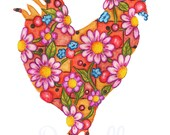Big Red Daisy Rooster 8 x 10 inch Floral Art Print - Wall Art Home Decor
