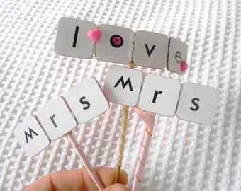 Mrs and Mrs Love Mini  Cake topper Wedding Engagemnet anniversary