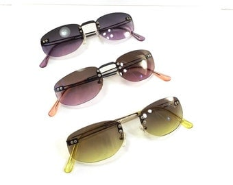 vintage 90s deadstock sunglasses metal frame unisex sun glasses eyewear fashion accessories matrix bright colorful black purple pink yellow