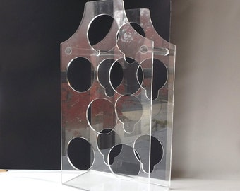 vintage 1960's clear acrylic wine rack lucite 6 bottle decorative home decor retro mid century modern standing dorothy thorpe holder storage