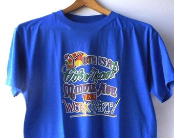 vintage 1980's NOS tshirt iron-on bright blue mens L large womens medium clothing fashion t shirt tee cotton blend usa new middle age retro