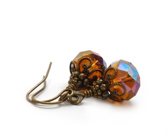 Topaz Glass Earrings - Faceted Glass - Brown Amber - Victorian Inspired - Beaded Drop Earrings