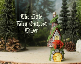 Miniature Fairy Outpost Stone Tower w/ Pearl Finial - Enchanted Round Fairy Folly with Flower Box, Moss and Tile Roof - Terrarium Decor