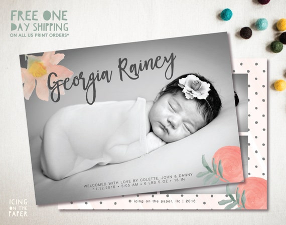 Watercolor Flower Birth Announcement - Digital or Printed