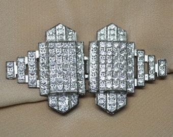 1930's Art Deco Pot Metal and Paste Belt Buckle Faux Diamonds Geometric