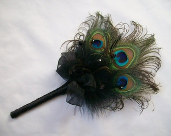 Black Peacock Feather Fairy Wand Mini Bouquet for a Bridesmaid Gothic Wedding -  Made to Order