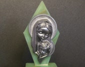 Religious Icon Catholic Mary and Jesus Silver on Green Bakelite Background and Stand Vintage Religious Icon