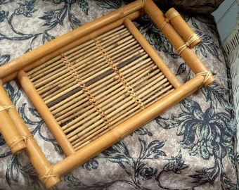 Vintage Bamboo Rattan Tray with Handles, Summer Room,  Patio Porch Living,  Summer Decorating Decor