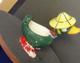 Vintage Toothbrush Holder Earl Bernard Pottery Ceramic Duck wearing Yellow Hat