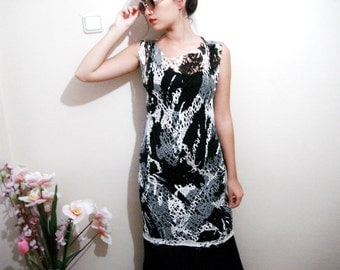 Black and White Lace Dress, Shabby Net Tunic Cover Up,  Sheer see through  Boho Fashion,