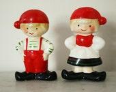 Vintage Holt Howard Pair of Christmas Dutch Boy and Girl Elf Pixie Salt and Pepper Shakers