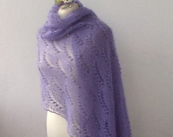 Lavender Blue hand knitted lace stole with nupps, kidsilk  lavender shawl, SPRING SALE 25% OFF