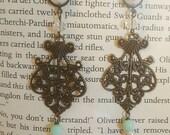 Wedding Prom Vintage Filigree Pear Teal Drop Dangle plugs Gauges o579 4g, 2g, 0g