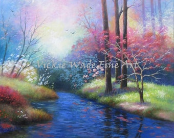 Creek in Spring Oil Painting 24X24 landscape, river, flowers, trees, garden, scenery, wall art.