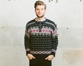 Vintage NOWEGIAN Patterned Sweater . LL Bean 80s Mens Scandinavian Knit Oversized Pullover Northern 1980s Jumper . Medium Large XL