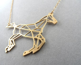 horse necklace, geometric jewelry, horse jewelry, geometric horse, galloping horse, galloping horse necklace, horse pendant, gift for her