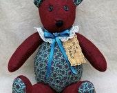 Handmade Primitve Bear ~ Primitive Caroline bear ~ Country Bear ~ Primitive Felt Bear ~Handcrafted Teddy Bear ~Prim bear