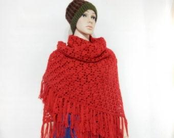 Crochet shawl in Dark Red
