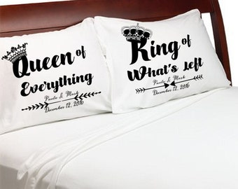Queen of Everything King of What's Left Funny Wedding Gift Idea Couples Funny Pillow Cases Personalized Wife Husband Anniversary Valentine