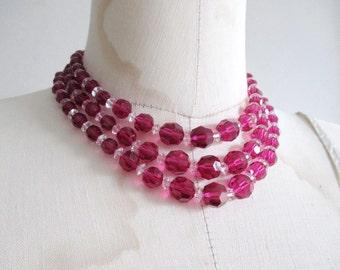 Boucher Magenta Crystal Three Strand Necklace