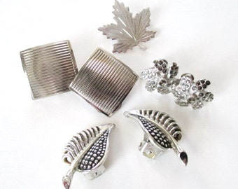 Clip & Screw Back Earrings Silver Tone Marcasites Leaf Brooch