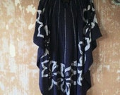 vintage.  70s Butterfly Blue Caftan cotton Dress, Free Size // Gypsy Boho Cotton // M to L