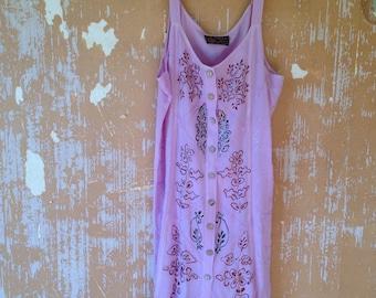 vintage.  Boho Lavender Rayon Short Dress //  Free Size