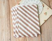 Diagonal Stripe ROSE GOLD Middy Bitty Bags medium paper bags