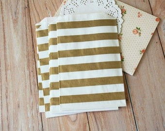 GOLD Horizontal Stripe Middy Bitty Bags medium paper bags