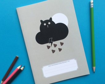 back to school Notebook, Journal, Sketchbook with plain pages, cute sketchbook, kawaii cat, colourful stationery purple booklet, A5 book