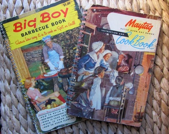 SALE!LOT 2 Vintage and Retro Cookbooks Big Boy Barbecue + Maytag Dutch Oven and Gas Range Instructions and Cookbook 1940s 1960s Spiral Bound