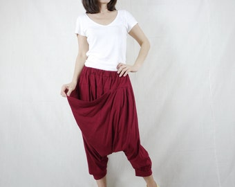 Funky Harem Boho Drop Crotch Burgundy Cotton Jersey Pants With Front Pocket And Elastic Waist
