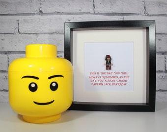 CAPTAIN JACK SPARROW - Pirates of the Caribbean - Johnny Depp - Framed Lego minifigure