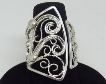 Exquisite Sterling Silver Artisan Filigree Cocktail Ring size 7.5 to size 9 OOAK bold airy elegant