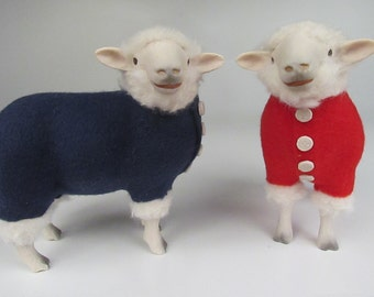 Handcarved Porcelain and Wooly Sheep in Patriotic Sweater